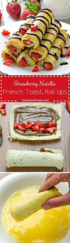 Strawberry Nutella French Toast Roll Ups are quick, delicious and easy to make! It's very tasty and sweet and perfect way to start your day! This French toast is great combination of strawberries and (Nutella Breakfast Recipes) French Toast Roll Ups, Nutella French Toast, Strawberry French Toast, French Toast Muffins, Brunch Recipes, Dessert Recipes, Brunch Food, Dessert Blog, Snacks Recipes