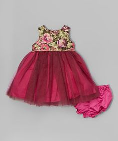 Pink Brocade Bodice Dress & Bloomers - Infant