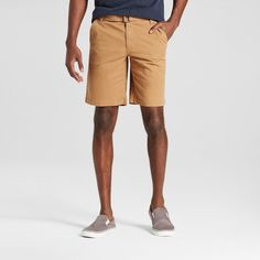 Men's Belted Flat Front Chino Shorts with Stretch Brown 38 - Mossimo Supply Co.