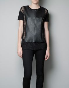 LEATHER EFFECT T-SHIRT - Woman - New this week - ZARA United States