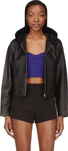 T by Alexander Wang black leather hooded jacket | reg $1150 , sale $345