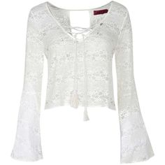 Boohoo Kitty Bell Sleeve All Over Lace Tassel Top featuring polyvore fashion clothing tops shirts shirts & tops white sleeve shirt flat top lace bell sleeve top tassel top