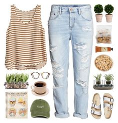 """Untitled #1055"" by theonlynewgirl ❤ liked on Polyvore featuring Birkenstock, Nude, Ray-Ban, H&M and Crabtree & Evelyn"