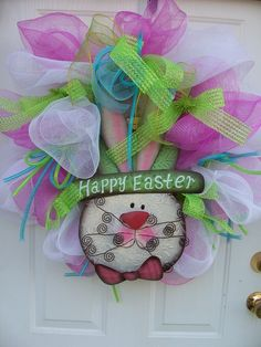 whimsical spring wreaths | Fun Whimsical Spring Easter Mesh Wreath by CustomCreated on Etsy