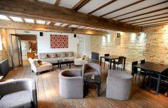 Tuddenham Mill's chic bar with exposed beams http://www.tuddenhammill.co.uk/