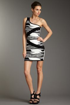 One Shoulder Print Front Bodycon Dress