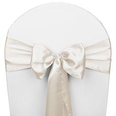 Ivory Satin Wedding Chair Sash 5/Pk