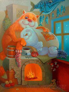На печке - 25 000 руб. - Холст - Масло - 50x60 см - 2016 год - Автор: Антон Горцевич - Город: Тверь - Живопись - Примитивизм - hashtags: #коты #кошка #печка #мышь #окно #рыба - Раздел каталога: hudognik.net/gallery/Conversation/ Always Love You, Cat Art, Tweety, Cats And Kittens, Cute Cats, Dinosaur Stuffed Animal, My Arts, Sketches, Painting