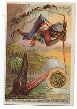 1890s Trade Card for Merrick Thread Alligator & African American Child