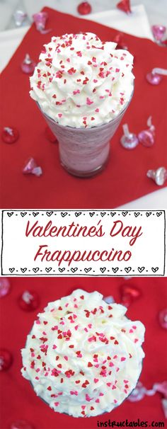 Valentine's day is coming up! If you want something special to drink, try out this Valentine's Day frappuccino. I first found it on StarbucksSecretMenu and adapted it to work with my base frappuccino recipe. It's pretty tasty and is basically a Chocolate Raspberry Frappuccino. Two super delicious flavors that should come together more often!
