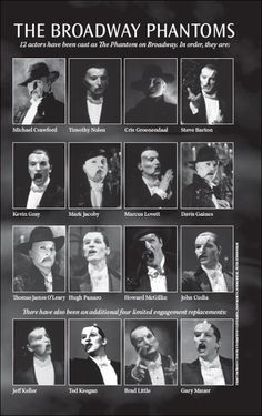 """wanderingchild-deactivated20151: """"    One of the pages inside the limited edition 25th Anniversary Playbill, featuring the men who have played the role of the Phantom over the 25-year history. Some actors have returned to the role a few times, while..."""