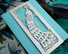 Laser cut belly band Art Deco Peacock by KatBluStudio on Etsy