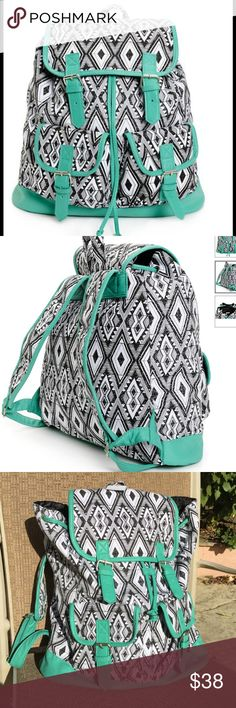 Spotted while shopping on Poshmark: Black and White w Mint Trim Rucksack Backpack! #poshmark #fashion #shopping #style #Handbags