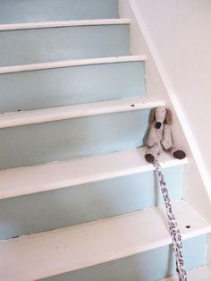 blue and white decorating shabby chic staircase