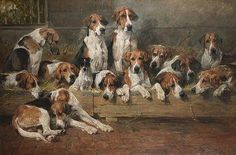 """New Forest Hounds"" by British artist John Emms (1843 - 1912)"
