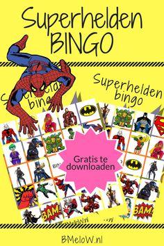 Super helden bingo gratis te downloaden Perfect voor bij een superhelden verjaardagsfeestje. #superheld #bing #verjaardag #kinderverjaardag