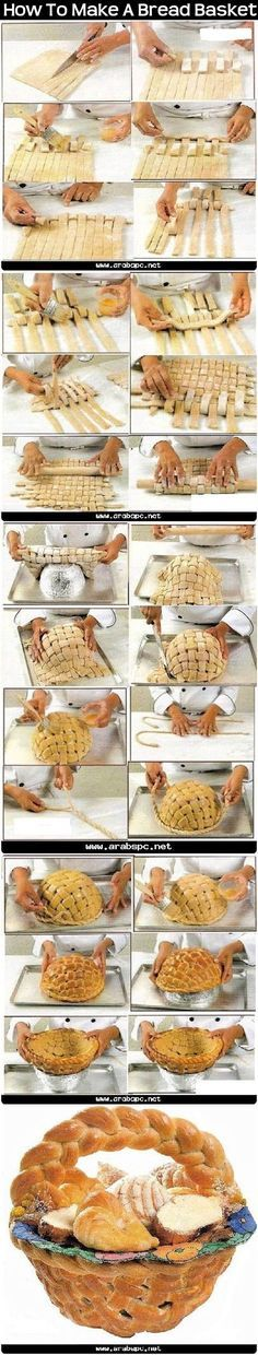How To Make A Bread Basket Pictures. Try this with French bread dough? Bread Art, Bread Food, Bread Shaping, Good Food, Yummy Food, Food Humor, Creative Food, Food And Drink, Cooking Recipes