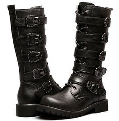 Men's Faux Leather Black Knee High Gothic Fur Motorcycle Boots Buckles