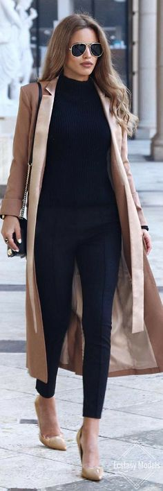 40 Cute Casual Chic Winter Work Outfits for Women 8 - TrueClothes Chic Winter Outfits, Winter Outfits For Work, Classy Outfits, Chic Outfits, Fall Outfits, Work Outfits, Fashion Outfits, Fashion Clothes, Black Outfits