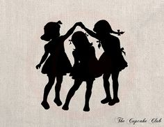 Clip Art Design Transfer Digital File Vintage Download DIY Scrapbook Shabby Chic Pillow Burlap Little Girls Playing Silhouette Art No. 0443 ~ $1.00 download