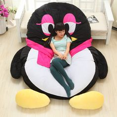 Luxury Modern Cartoon Penguin Large Floor Cushion Dome Decor Pillow Big Outdoor Chair Cushions Pad Decoration Bed Mattress Kids