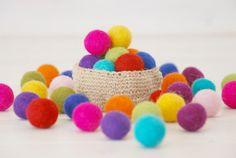 Mix and Match  100% Wool Felt Balls - 20 Wool/Felt balls  (18 - 20 mm) by CraftyWoolFelt, $6.50