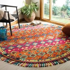 Shop for Safavieh Handmade Aspen Bohemian & Eclectic Tribal Orange/Fuchsia Wool Rug. Get free delivery On EVERYTHING* Overstock - Your Online Home Decor Store! Carpet Decor, Diy Carpet, Modern Carpet, Rugs On Carpet, Hall Carpet, White Carpet, Stair Carpet, Carpet Flooring, Aspen