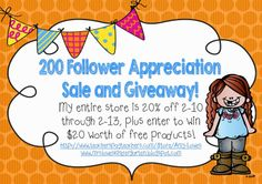 200 Follower Appreciation Sale and Giveaway from Amy Lowes' TpT Store!