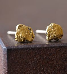 Raw Gold Nugget Earrings by Alexis Russell on Scoutmob