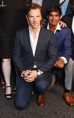 HAMLET (2015) ~ Close up of Benedict Cumberbatch in the cast photo at the opening night after party at the Barbican theatre in London on August 25, 2015.