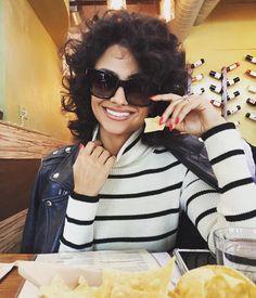 Nazanin Mandi in Capulet's Holiday '15 Turtleneck Sweater - Cream/Black Stripe