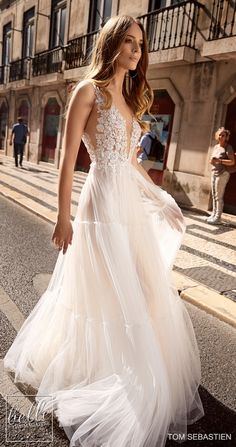 """Strapless Wedding Dresses Sebastien Wedding Dresses 2019 - Fashion eye-candy wedding dresses that would leave you swooning. It is the Tom Sebastien 2019 """"Lisbon"""" Bridal Collection, and it is out of this world. Gorgeous Wedding Dress, Boho Wedding Dress, Wedding Dress Styles, Wedding Gowns, Tulle Wedding, Delicate Wedding Dress, Desi Wedding, Wedding Bride, Wedding Bouquets"""