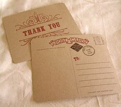 Vintage Style Thank You Postcards by ideachic on Etsy
