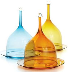 Pastry & cheese domes (cloches) in teal, apricot, and amber by glass artist Joe Cariati.