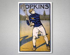 POSTER MERCERSBURG ACADEMY BASEBALL PLAYER ON FIELD SPORT VINTAGE REPRO FREE S//H