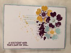 Flower shop and petite petals stampin up card. Blackberry bliss, pool party and crushed curry ink. Remembering your birthday stamp set and gorgeous grunge background.
