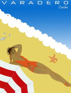 Vintage Travel Poster Varadero Cuba ~ woman sunbathing on beach