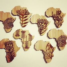 #SouthAfrica inspired brooches fresh from the cutter! ....♡...♡...♡... #africa #brooch #protea #engraved #bamboo #fynbos #kaap #capetown #handmade #art #pringlebay #laser