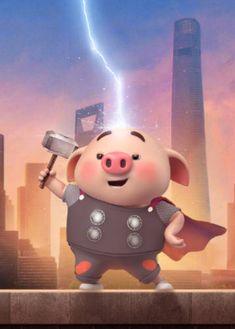 Pig Wallpaper, Cartoon Wallpaper, Funny Phone Wallpaper, Cute Panda Drawing, Pig Drawing, Three Little Pigs, This Little Piggy, Kawaii Pig, Thor