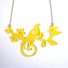 Laser-cut birdie necklace. Tweet tweet!