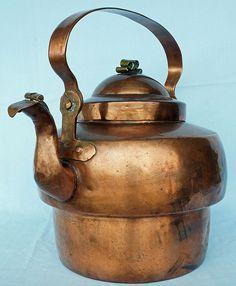 antique 1800's copper tea kettle from Sweden