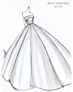 """Exclusive: Get a First Look at the Fall 2019 Bridal Collections - """"The bride I. - Exclusive: Get a First Look at the Fall 2019 Bridal Collections – """"The bride I envision wearing this dress and any dress I design is one who is confident in being – - Gown Sketch Design, Dress Design Drawing, Fashion Drawing Dresses, Fashion Illustration Dresses, Drawings Of Dresses, Fashion Figure Drawing, Dresses Art, Fashion Sketchbook, Gown Drawing"""