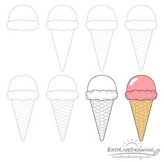 ice cream cone draw step drawing easy drawings simple steps circle