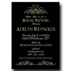 Bridal Shower Invitation -  Golden and white Letters on black background