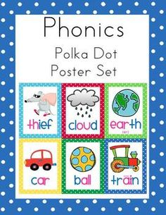 Here are 48 phonics posters to display when you are teaching first grade phonics sounds.  I leave them up all year for handy reference.  They are a...