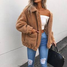 Cute Cozy Warm Fall Back to School Outfit Ideas for Teens for College - Aurora Popular Oversized Soft Comfy Sherpa Teddy Jacket Pixie Coat I am gia dupe - www. Source by larahaunfelder outfit ideas for women casual Winter Outfits For Teen Girls, Stylish Summer Outfits, Cute Fall Outfits, Fall Winter Outfits, Winter Ootd, Tumblr Fall Outfits, Winter Clothes, Spring Clothes, Trendy Outfits For Teens