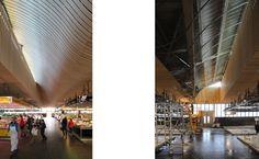 Allee centrale de la halle, achevee et en chantier (Photos Ameller & Dubois : FA & CH)
