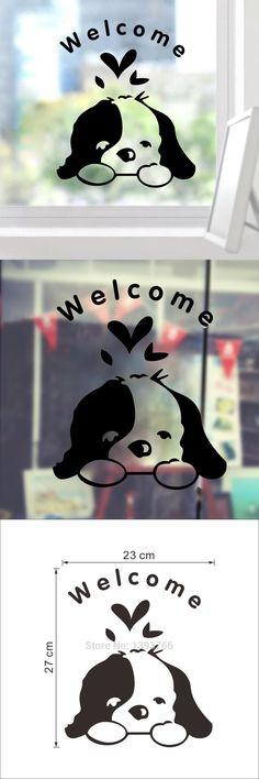 Welcome Kids Room Cute Dog Door Funny Wall Sticker Home Decoration Pet Shop Decals 348 Diy Vinyl Wallpaper Art Waterproof Poster $1.59