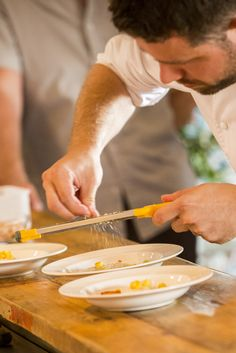 Our executive chef and owner of Hardley Hill Farm, Sven-Hanson Britt adding the perfect finishing touches to dishes prepared in the Miele Steam Combination Oven Pop Up Restaurant, Executive Chef, Fork, Oven, Dishes, Dining, Food, Ovens, Tablewares