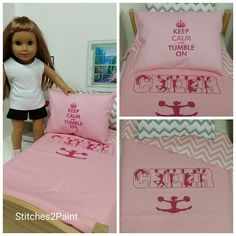 Paris Doll Bedding Pink and White Chevron Made to Fit American Girl Dolls 18 Doll Bedding